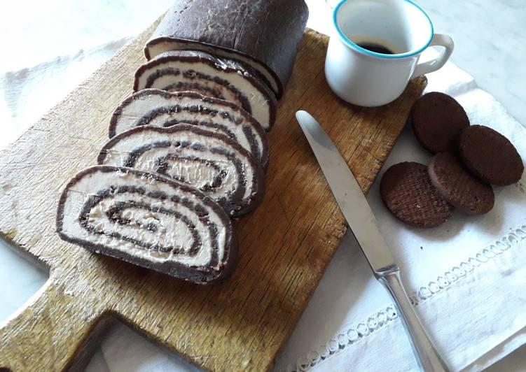 Rotolo caffè e cioccolato, senza cottura