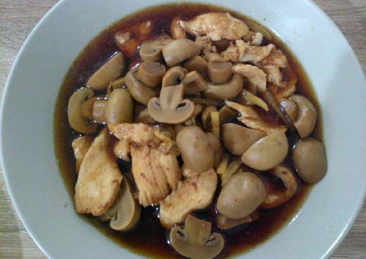 Recipe: Delicious 简易蘑菇酱油鸡 Simple Soy Sauce Chicken with Mushroom