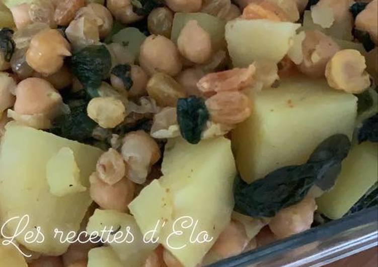 La Délicieuse Recette du Pomme de terre et épinard aux épices au Cookeo
