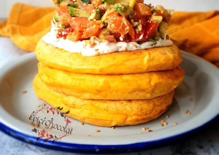 Le moyen le plus simple de Cuire Savoureux Pancakes a la patate douce et son tartare saumon avocat