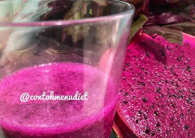 Jus santan segar buah naga merah bayam indigo turun bb smoothies kolesterol