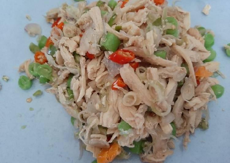 Ayam suwir sambal matah (no minyak no msg) diet friendly