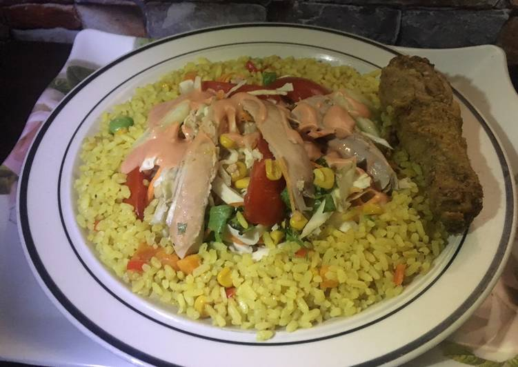 How to Prepare Appetizing Fried rice and chicken salad