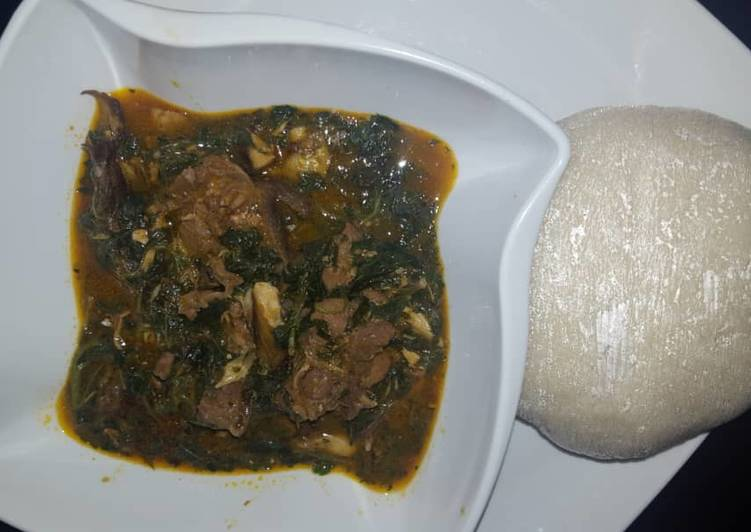 Semo and ewedu soup