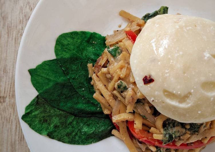 Chilli Chickpea Noodles with Peanut Sauce and Burrata Cheese