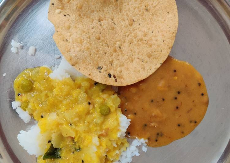 What is Dinner Ideas Speedy Rice with Molaghootal, Dry Neem flower Pachdi & papad