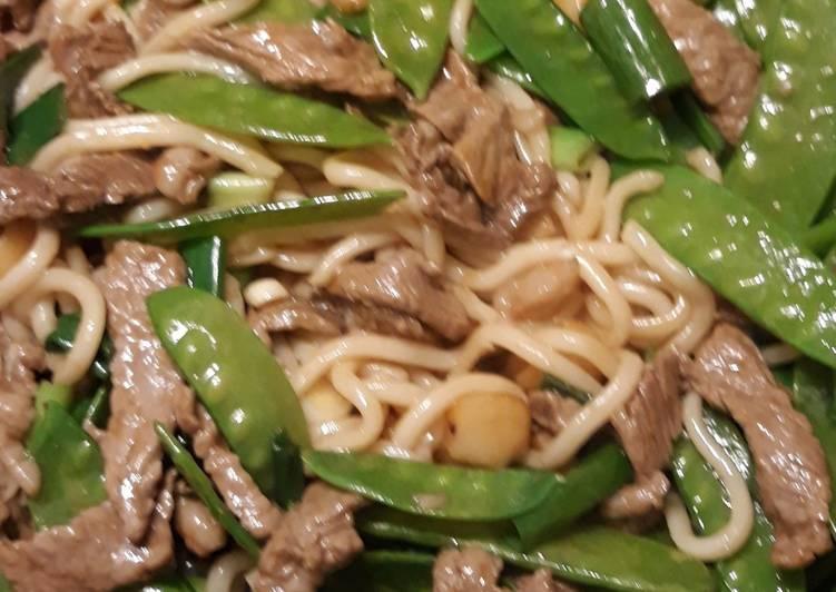 Udon Beef & Snow Peas