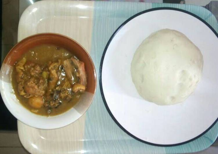 Steps to Prepare Homemade White soup and pounded yam