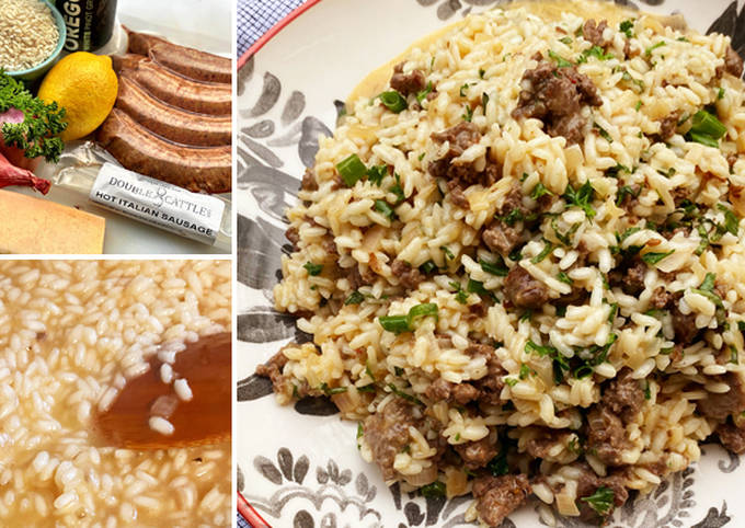 Wagyu Italian Sausage Risotto with Fresh Herbs