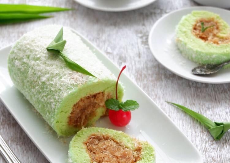 resep menyajikan Pandan Chiffon Rollcake Topped with Dried Coconut #pr_AnekaChiff - Sajian Dapur Bunda