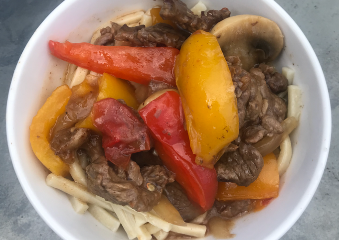 Pepper Steak with Kluski Noodles