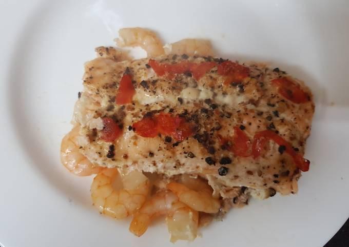 My Chilli Garlic Salmon and king Prawn Bake