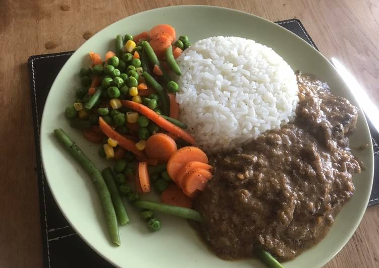 Steps to Prepare Award-winning Steak with pepper saus,Rice
