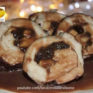 Lomo de cerdo relleno con manzanas y ciruelas sin horno - Recetas Navideñas
