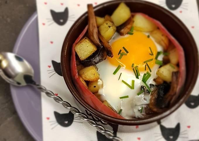°oeuf cocotte pommes de terre, champignons et jambon°