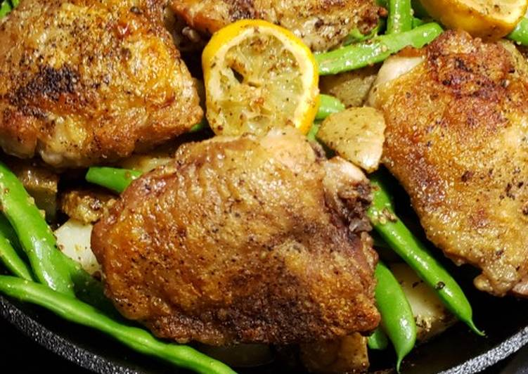 Recipe: Appetizing Lemon Dijon Chicken, potatoes and green beans