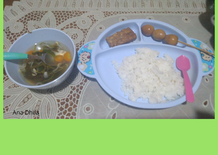 Sayur Asem + Tempe, Tahu & Telur puyuh Bacem (MPASI)