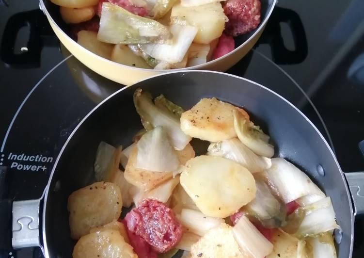 Poêlée d'endives, pommes de terre, chorizo