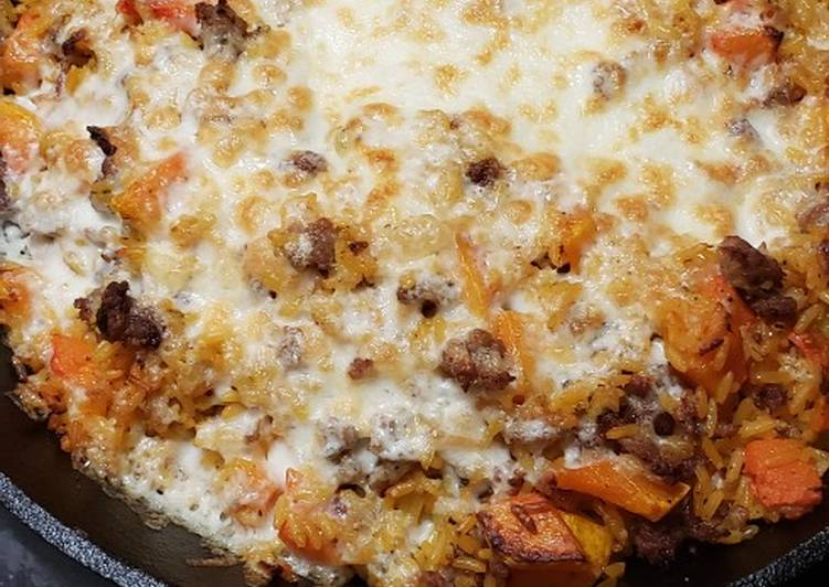 Sausage and butternut squash rice skillet