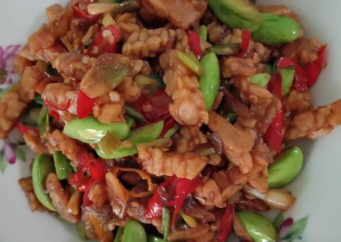 sambal goreng kering tempe + pete - resepenakbgt.com