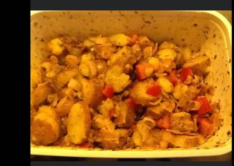 Salade de pommes de terre oignons tomates seiches à l huile de homard et vinaigre de cidre