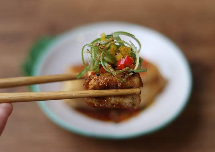 Soft tofu with sweet sticky tamarind sauce 🥢