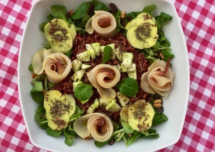 INSALATA DI RISO INTEGRALE CON ROSE DI SPADA AFFUMICATO  (Ricetta healthy)