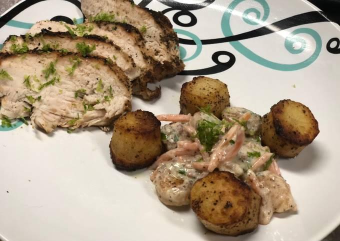 Seared Chicken Breast w/ Shrimp and Scalloped Potato