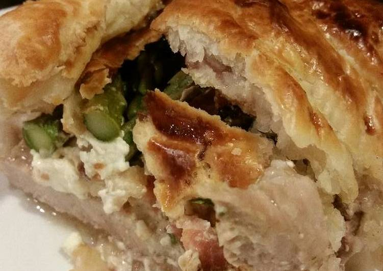 Recipe of Any-night-of-the-week Brad's bacon asparagus and cream cheese stuffed pork wellington