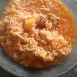 Guiso de arroz con bifecitos de cerdo ☝