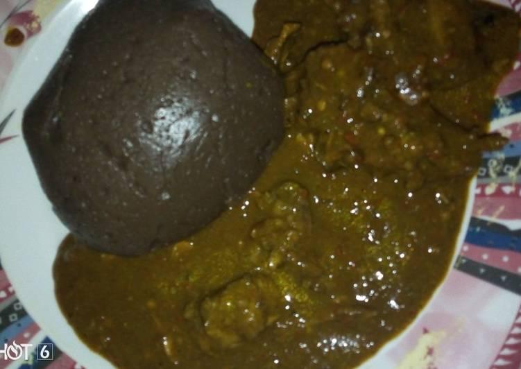 Best Comfort Dinner Easy Vegan Amala with dry okro soup