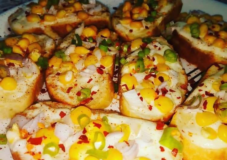 Corn Cheese Bruschetta