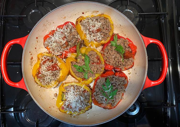 Stuffed peppers with low fat beef mince meat For Jamo
