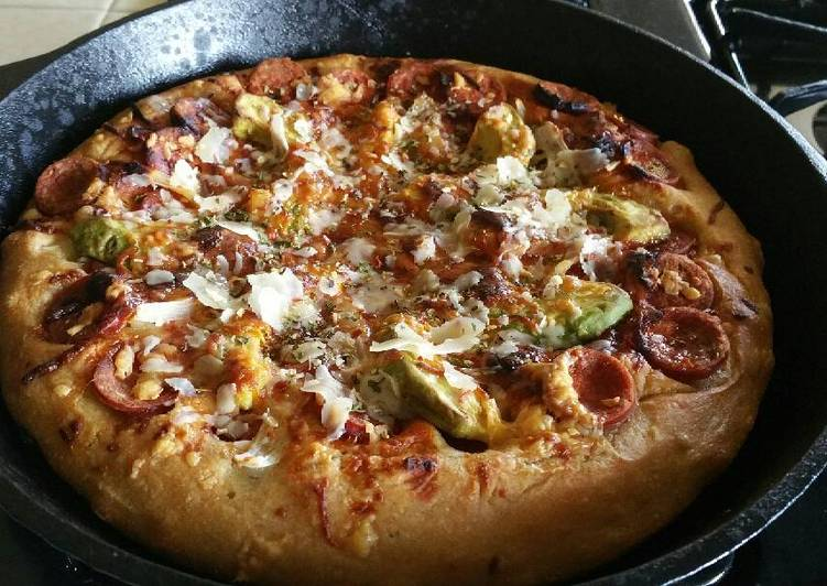 Recipe of Ultimate Bbq pepperoni deep dish pizza in a Cast Iron skillet