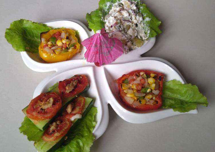 Roasted Corn Salad,Baked Kheera cucumber,Vegs & Fruits Raita