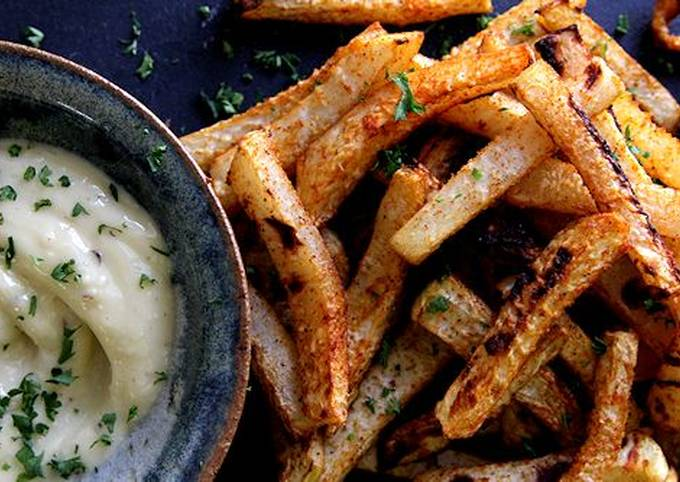 Easiest Way to Cook Appetizing Kohlrabi Fries with Garlic Aioli