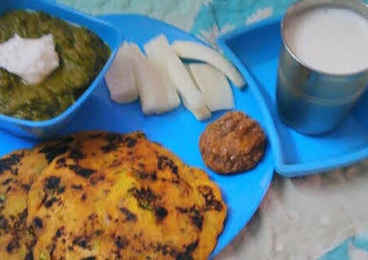 Simple Way to Make Perfect Pure Punjabi Platter(Sarson ka sag Makki ki roti)