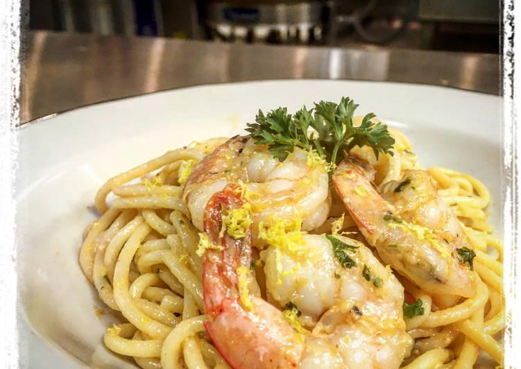 Steps to Prepare Super Quick Homemade Lemon Garlic Parsley Parmesan Shrimp Pasta