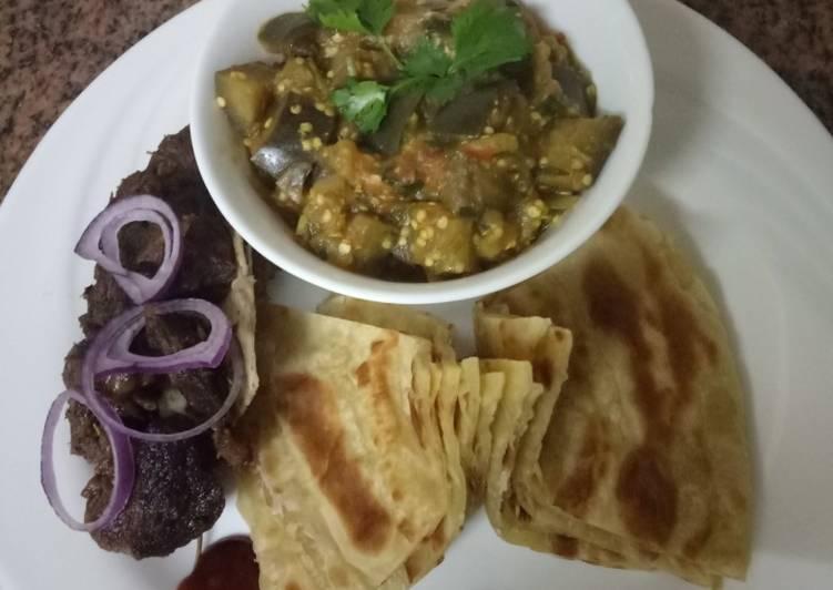 Recipe of Super Quick Homemade Eggplantscurry,goatsufuriaroast andchapati#weeklyjokochallenge&