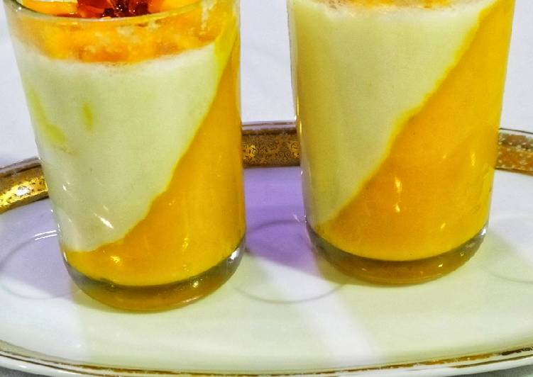 Mango Panna Cotta with Spun Sugar decoration