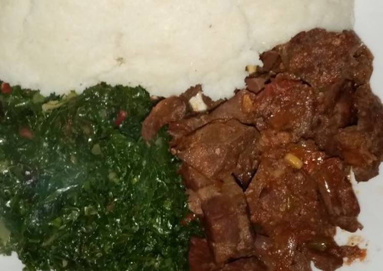 How to Prepare Most Popular Ugali with fried liver and greens