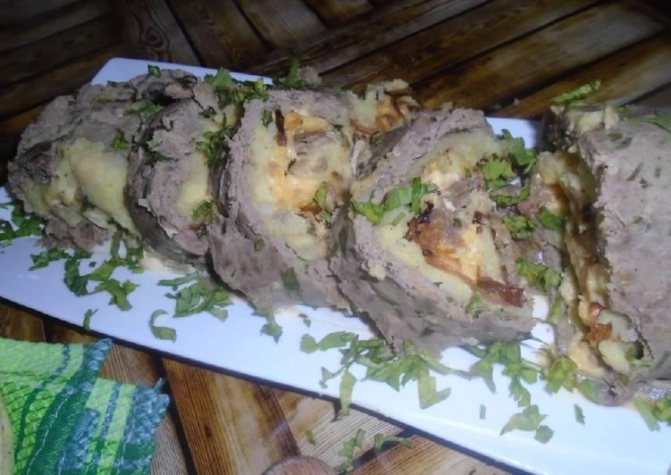 Roulé viande hachée oignon caramélisé avec du fromage