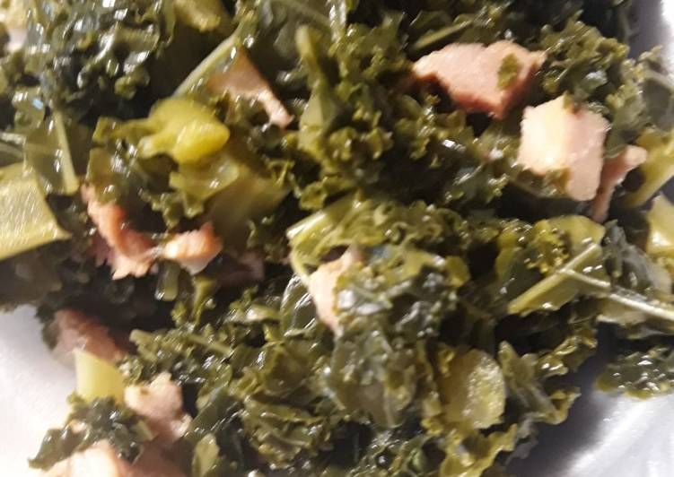 Kale with Canadian Bacon