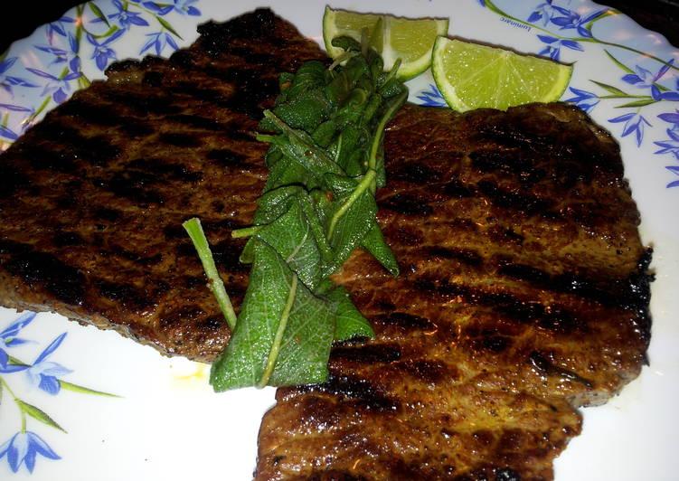 Pan Grilled Beef Steak with Sage leaves
