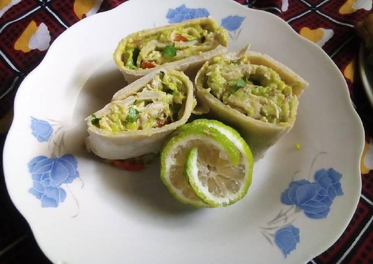 Easiest Way to Make Yummy Chicken avocado salad roll ups