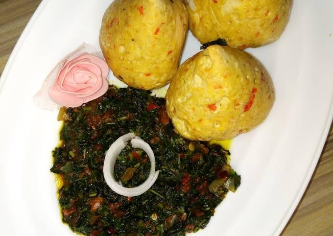 Tofu(Awara) moi moi served with veggie sauce