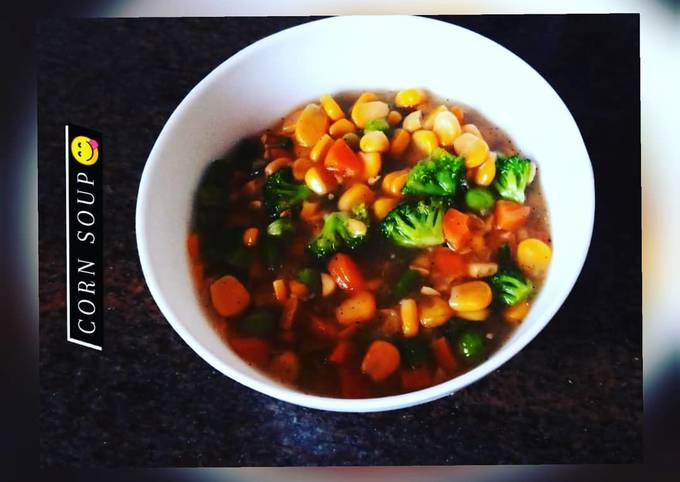 How to Prepare Homemade Sweet corn-vegetable soup 😋