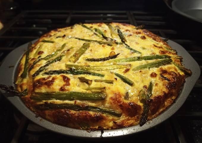 Asparagus Quiche with a Spaghetti Squash Crust (Low Carb)