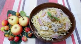 Hình ảnh món Spaghetti Sốt Kem Phô Mai Nấm Mỡ