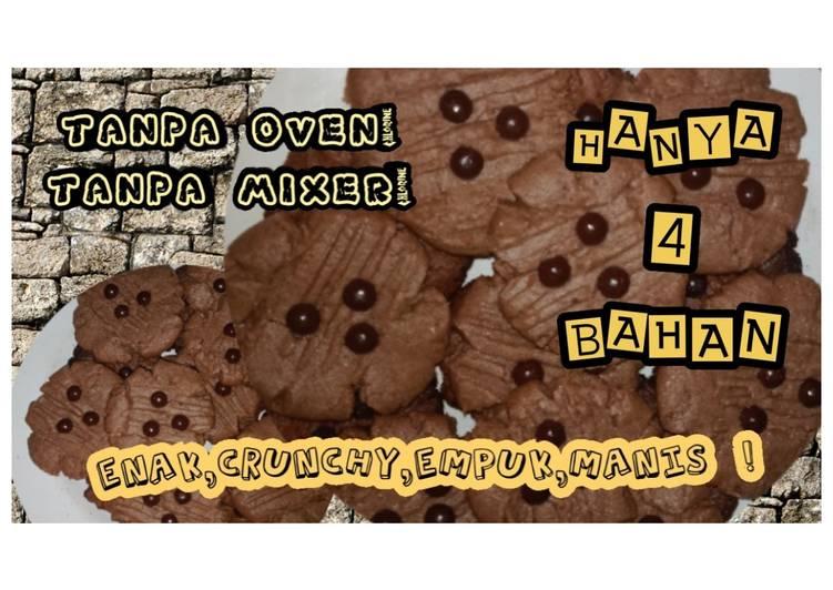 Cookies chocolatos dengan 4 bahann 🍪🍪 tanpa oven, tanpa mixer!